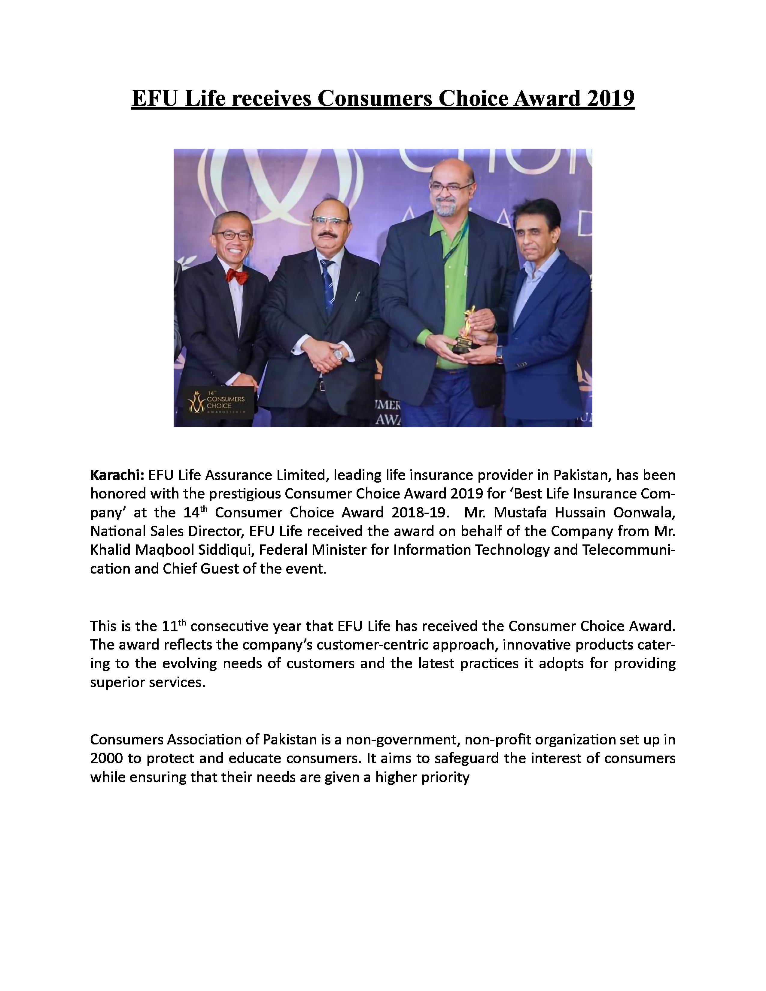 EFU Life receives Consumers Choice Award 2019